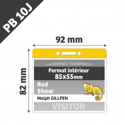 PB10J - Porte Badge Souple - Horizontal - 92x82mm - Transparent