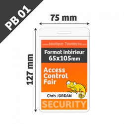 PB01 - Porte Badge Souple - Vertical - 75x127mm - Transparent
