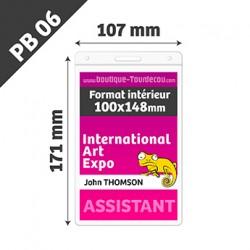 Porte Badge Souple - Vertical - 110x170mm - Transparent