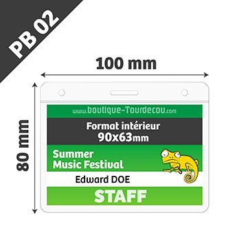 Porte badge transparent souple - Horizontale - 10x8cm