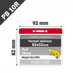 PB10R - Porte Badge Souple - Horizontal - 92x82mm - Transparent