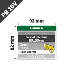 PB10V - Porte Badge Souple - Horizontal - 92x82mm - Transparent