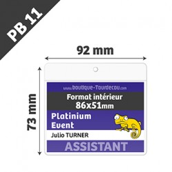 PB11 - Porte Badge Souple - Horizontal - 92x73mm - Transparent