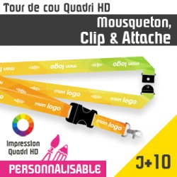 Tour de Cou Mousqueton J+10 Clip et Attache