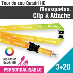 Tour de Cou Mousqueton J+20 Clip et Attache