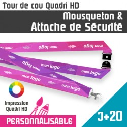Tour de Cou Mousqueton J+20 Attache de Sécurité