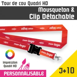 Tour de Cou Mousqueton J+10 Clip détachable