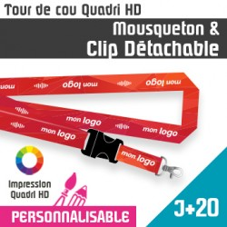 Tour de Cou Mousqueton J+20 Clip Détachable