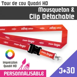 Tour de Cou Mousqueton J+30 Clip détachable