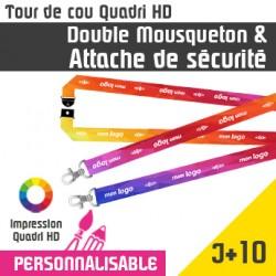 Tour de Cou Double Mousqueton et Attache de Sécurité J+10