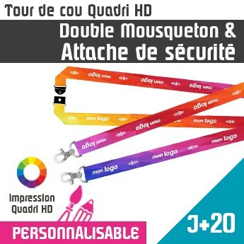 Tour de Cou Double Mousqueton J+20 Attache de Sécurité
