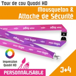 Tour de Cou Mousqueton J+4 Attache de sécurité