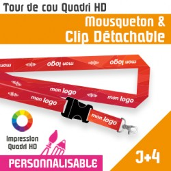 Tour de Cou Mousqueton J+4 Clip Détachable