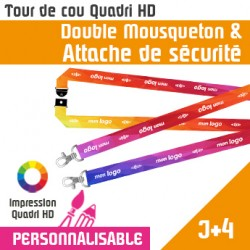 Tour de Cou Double Mousqueton J+4 Attache de Sécurité