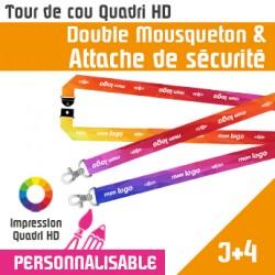 Tour de Cou Double Mousqueton J+4 Attache de Sécurité
